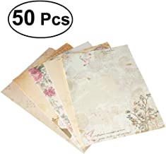 50 Pcs Cute Writing Stationery Paper Vintage Retro Letter Writing Paper Letter Sets, 5 Different Style