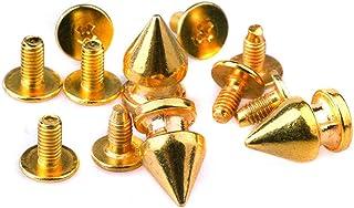 Durevole 100Sets 8 * 12mm Golden Cône Stups en métal Rivets en cuir de la peau Spike Punk Spike rivets pour le cuir per la...