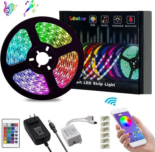 LED 灯条灯 L8star 变色绳灯 16 5050 SMD RGB 灯条灯带蓝牙控制器同步音乐适用于电视卧室派对和家居装饰 16