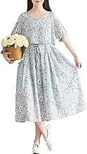 Real Shot Summer New Art Literature Retro Silk Cotton Two Piece Shoulder Sleeves Long Floral Dress