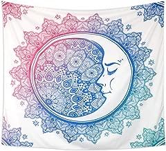 LOMOHOO-Tapiz para Colgar en la Pared con diseño de Luna y Estrella Tapiz Indio Mandala Diseño de Tarot Sun Moon Tapestrypara Picnic o Playa … (Moon, M/130cm X150cm)