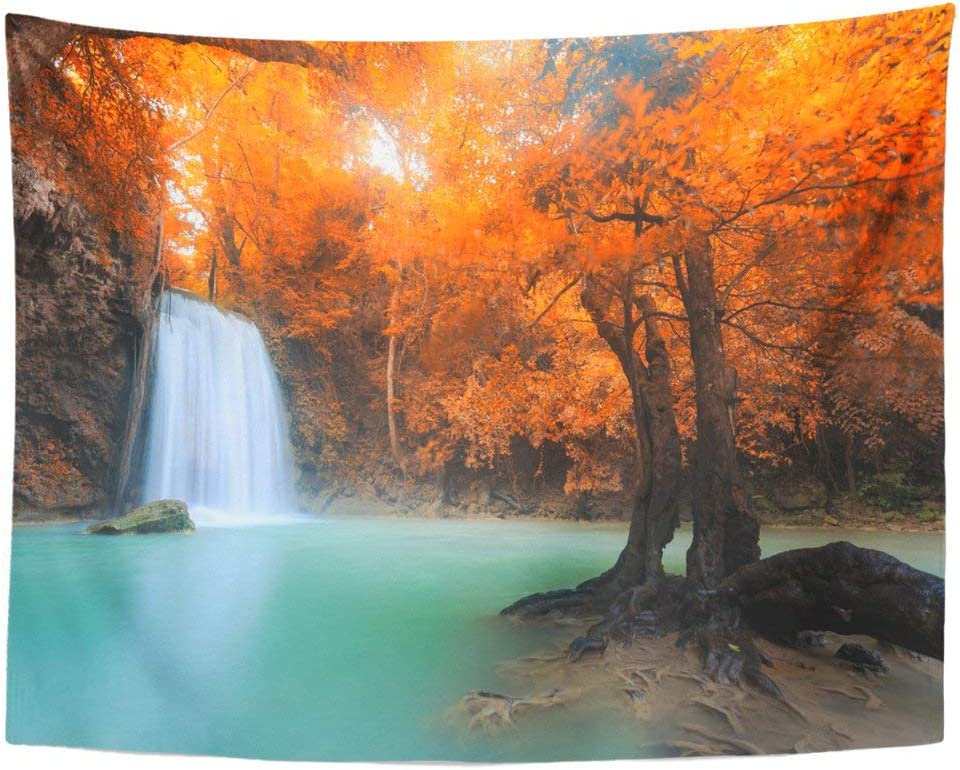 Emvency Wall Tapestry Green Forest Landscape Erawan Waterfall Beautiful In Rainforest At Kanchanaburi Fresh Jungle Nature Parks Rocks Decor Wall Hanging Picnic Bedsheet Blanket 80x60 Inches Home Kitchen