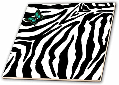 Rikki Knight 8 x 8 Yellow Leopard Heart on Zebra Background Design Ceramic Art Tile