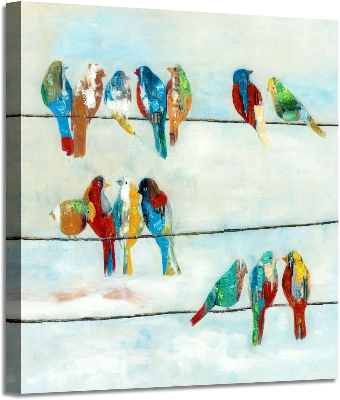 Abstract Animals Canvas Wall Art: Colorful Wires a on Birds B Max 65% OFF price