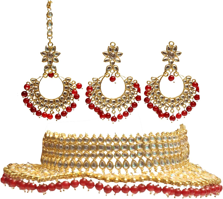 Maroon Kundan Choker Necklace Set Gold Indian Jewelry Wedding Necklace Ethnic Bollywood Jewelry Set