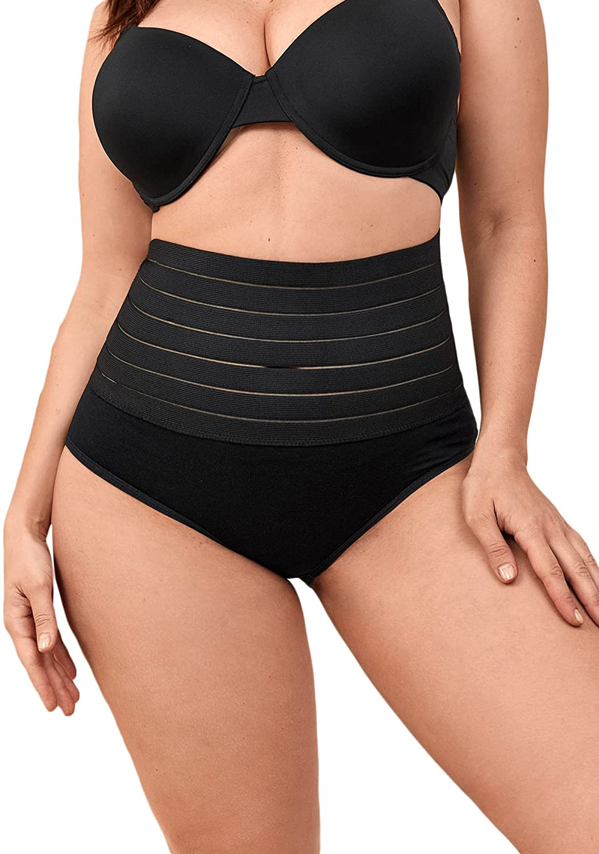 WDIRARA Women's Plus Mesh High Waisted Shapewear Shorts Butt Lifter Body Shaper