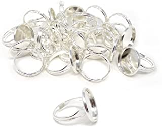 Honbay 20PCS 16mm Adjustable Finger Ring Blank Bases Round Finger Ring Trays (Silver)