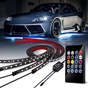 BLIAUTO Car Underglow LED Lights Underbody Lighting Kit 12V RGB LED Strip Atmosphere Decorative Lights Waterproof Exterior with Wireless Remote Control 2-in-1 Design for Cars Trucks 90x120cm