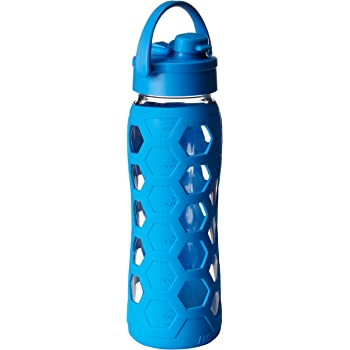Lifefactory 22-Ounce BPA-Free Glass Water Bottle with Flip Cap and Protective Silicone Sleeve, Ocean