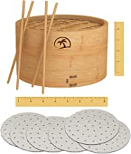DEALZNDEALZ 3-Piece Bamboo Steamer Basket with Lid 08-inch 2-Tier, 50 Perforated Bamboo Steamer Liners with 2-Pairs of Bam...