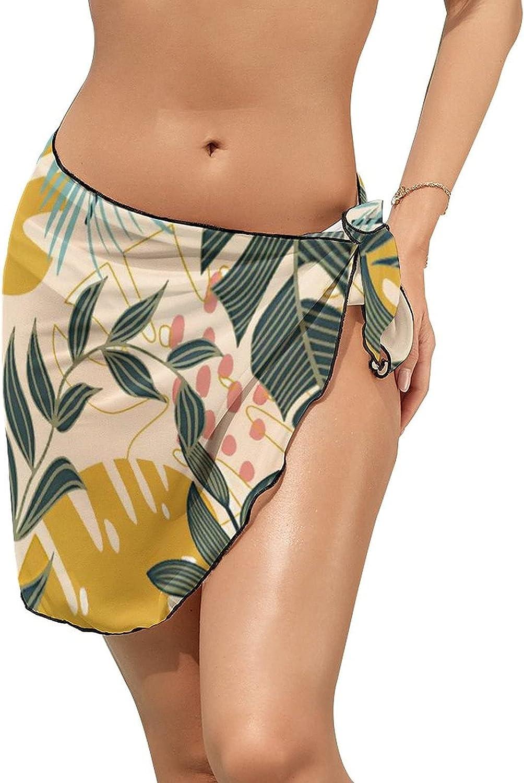 JINJUELS Women's Beach Sarongs Bikini Cover Ups Summer Tropical Leaves Sheer Swimwear Short Skirt