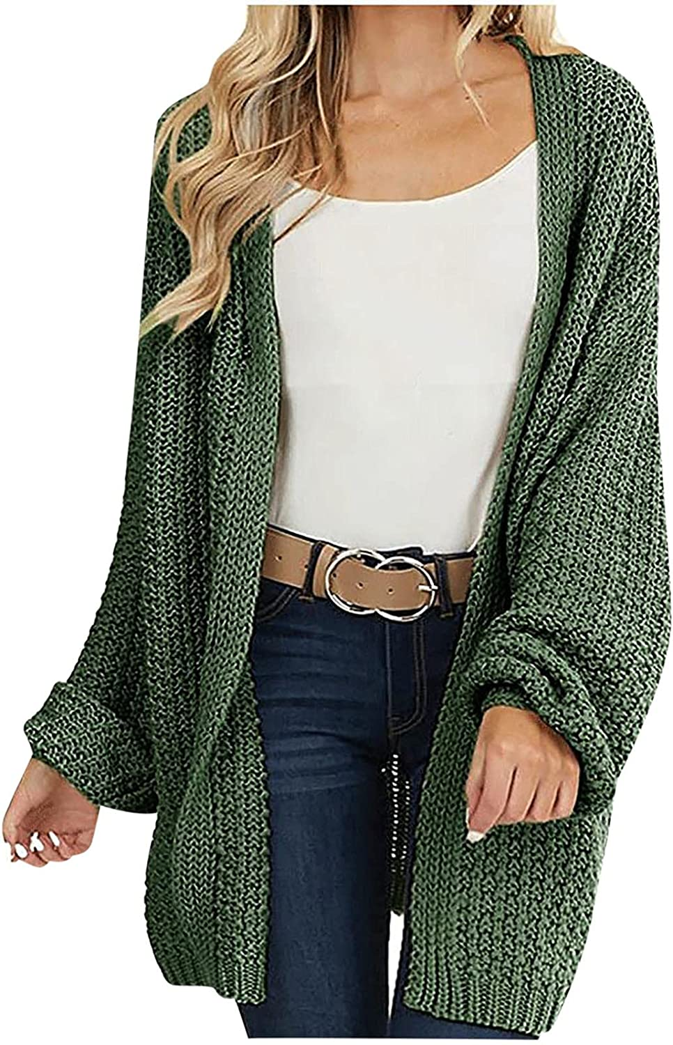 Women's Knitted Long Cardigan Open Front Sweater Outwear Casual Loose Solid Jacket Fashion Long Sleeve Coat Tops