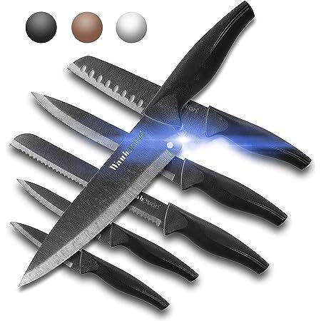Wanbasion 6 pièces Ensemble de Couteaux de Cuisine Professionnel, Set Couteaux de Cuisine Chef, Couteaux de Cuisine en Acier Inoxydable Noir