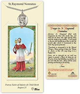 Pewter Saint Raymond Nonnatus Medal with Laminated Holy Prayer Card