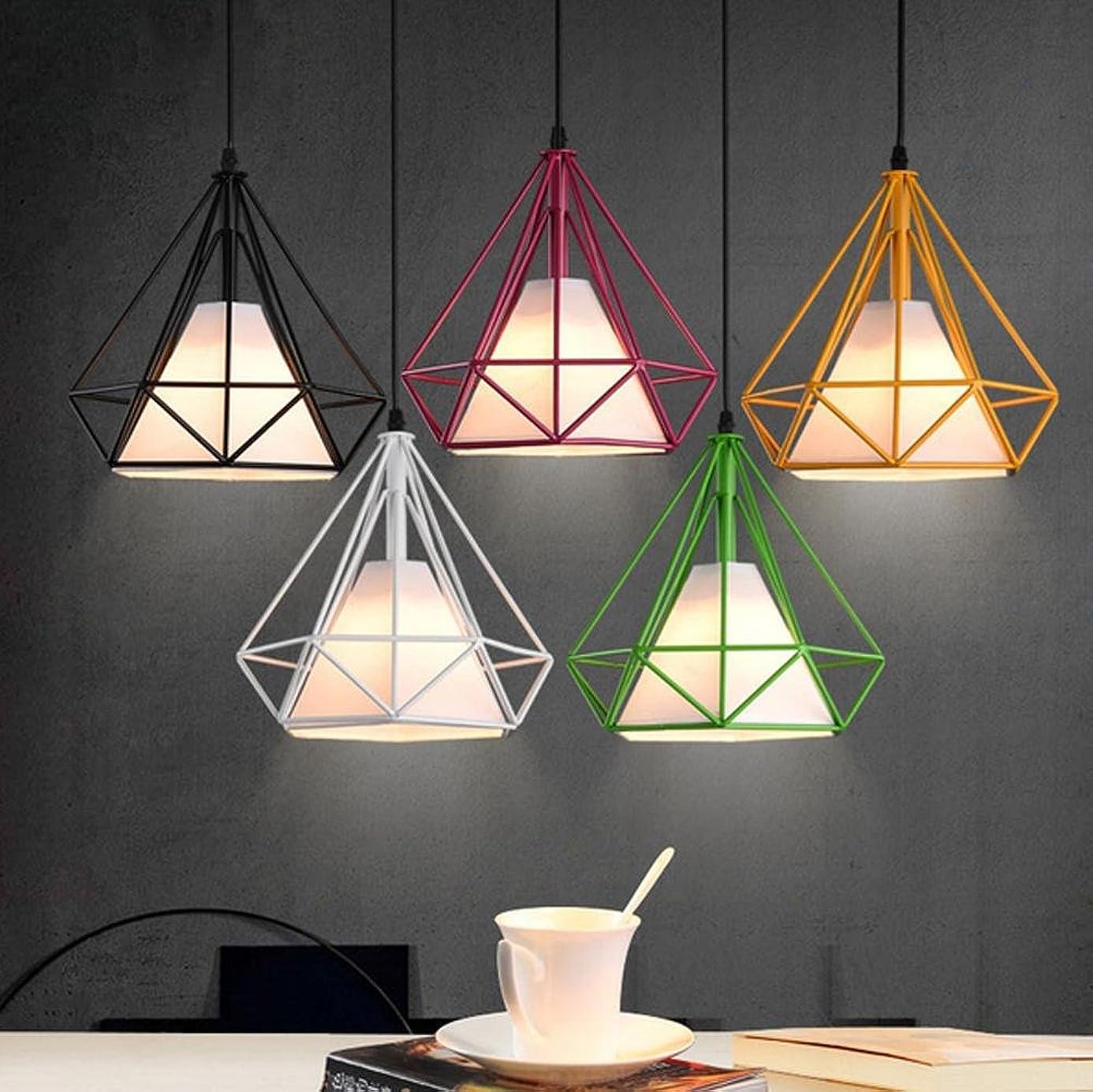 WWQY outdoors American Diamond Cage Pendant Lamp 25/38cm Nordic Wrought Iron Restaurant Industry Pendant Light, 38cm