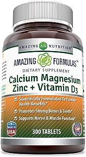 Amazing Formulas Calcium Magnesium Zinc + D3-300 Tablets Per Bottle (Calcium 1000mg - Magnesium 400mg - Zinc 25mg Plus Vit...
