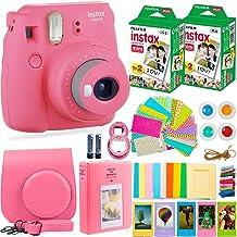 FujiFilm Instax Mini 9 Instant Camera + Fuji Instax Film (40 Sheets) + Accessories Bundle - Carrying Case, Color Filters, Photo Album, Stickers, Selfie Lens + More (Flamingo Pink)