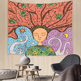 Girl Tapestry, Fashion Girl with Floral Hair and Moon Sun octopus Creative Wall Tapestry, Tapestry Wall Hanging for Living Room Bedroom Home Decor, 71X60 IN