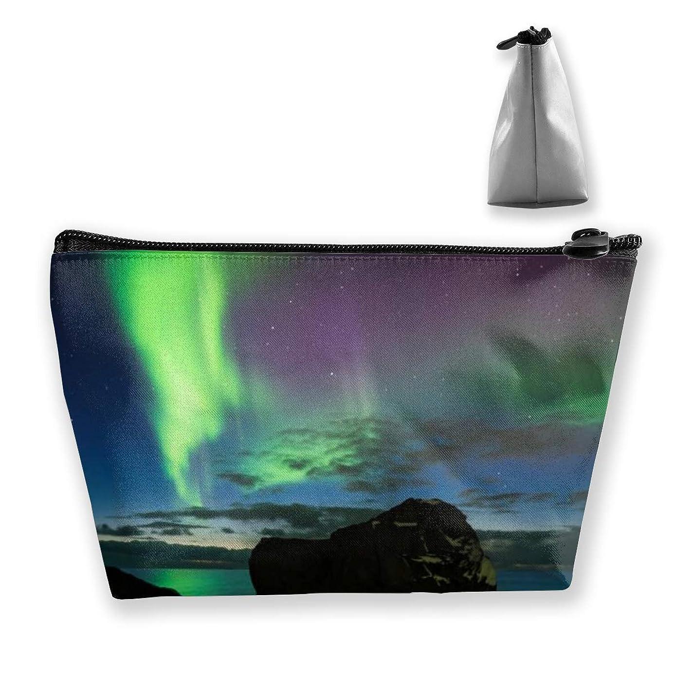 同一性サリー除外するSzsgqkj ノルウェーの岩のビーチのオーロラ 化粧品袋の携帯用旅行構造の袋の洗面用品の主催者