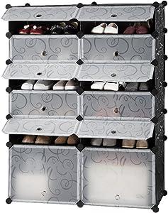 LANGRIA Penderie Etagère à Chaussures Modulable DIY 12 Cubes, Meuble Rangement avec Modules en Plastique, 2 Cubes Grands et 10 Cubes Petits pour la SDB, Garage, Salon, Noir et Blanc avec Motif Frisé