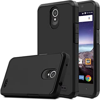 Venoro Compatible with ZTE Prestige 2 Case, for ZTE N9136 Case, Shockproof Slim Anti Scratch Hybrid Dual Layer Armor Defender Protective Phone Case Cover Compatible with ZTE ZFive 2 Z837VL (Black)