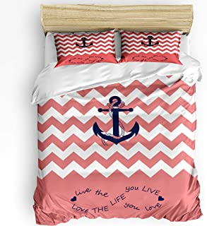 Infinidesign 3 Piece Anchor Duvet Cover Set King Size, Soft Breathable Polyester Microfiber Comforter Cover with Zipper Cl...