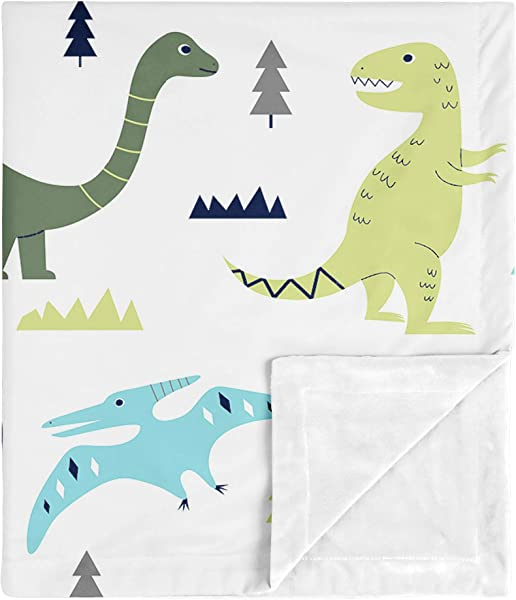 Sweet Jojo Designs Modern Dino Mod Dinosaur Baby Boy Receiving Security Swaddle Blanket For Newborn Or Toddler Nursery Car Seat Stroller Soft Minky Blue Green And Grey