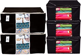 Kuber Industries Non Woven 3 Pieces Saree Cover and 2 Pieces Underbed Storage Bag, Cloth Organizer for Storage, Blanket Cover Combo Set (Black) -CTKTC038466