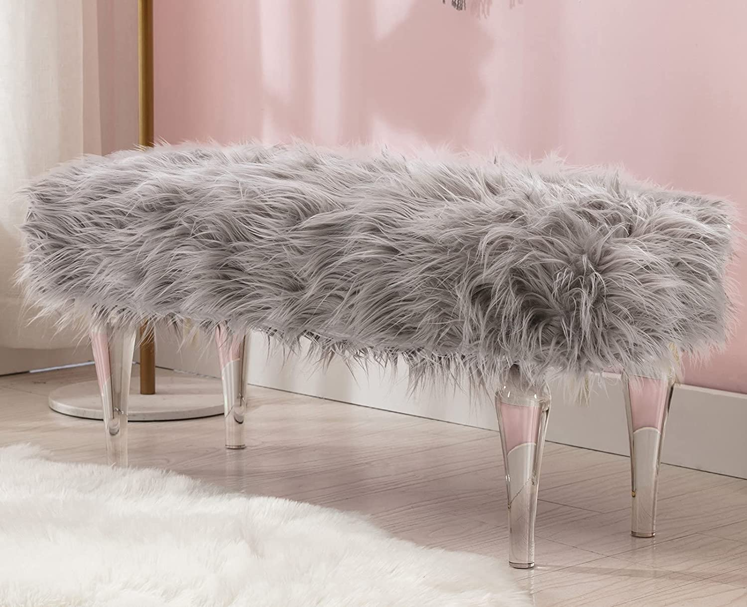 Guyou Modern Acrylic Bench Gray Our shop OFFers the best service Bedroom Faux All items in the store Ottom Fur Bed