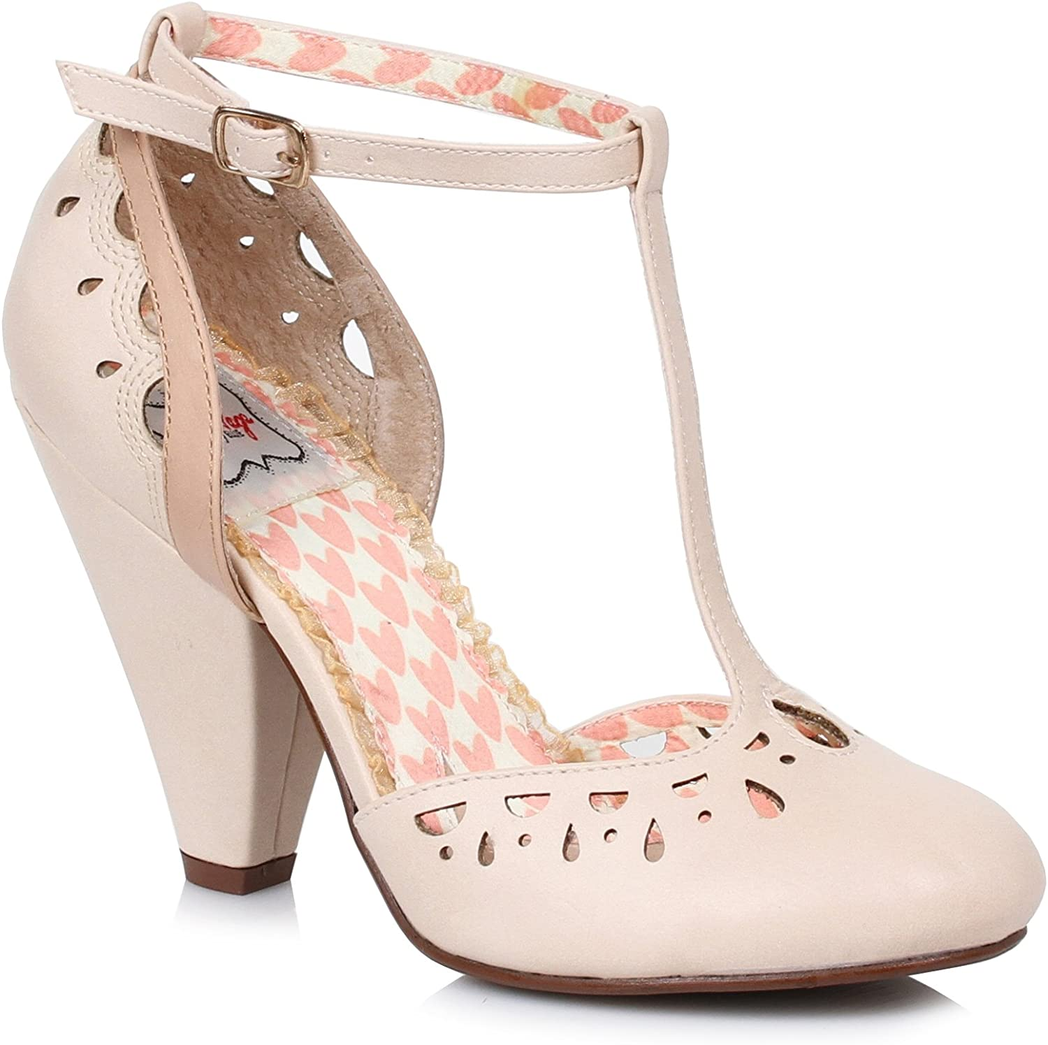 Ellie shoes E-BP403-Elsie T Strap Closed Toe Cut Out Heel Nude 5