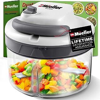 مولر اتریش Chopper Dual Speed Ultimate Pull Food ، سبزیجات ، آجیل و هلی کوپتر سیر ، غذاساز دستی - برش دهنده و رنده کننده سبزیجات ، کاسه ضد لغزش 40.5oz ، تیغه های فولاد ضد زنگ