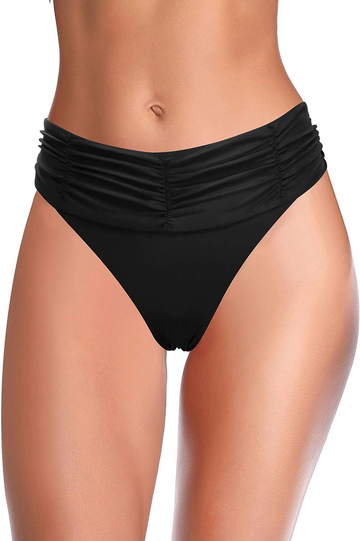 SHEKINI Max 40% OFF Black Bikini Nashville-Davidson Mall Swimsuits for Waisted Biki Ruched Women Mid