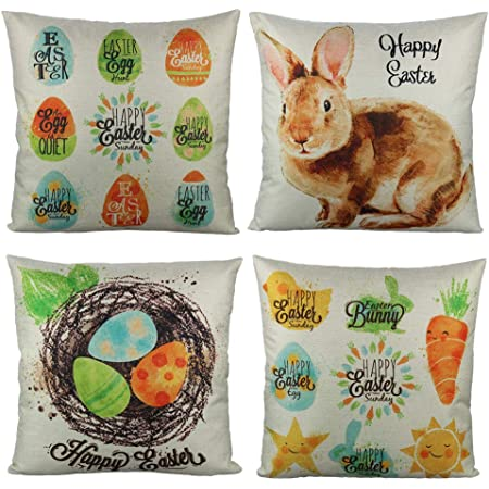All Smiles Easter Cushion Covers Decorative Easter Eggs Bunny Rabbit Pillows 18x18 Set Of 4 Colorful Eggs Animal Home Décor For Kids Bed Sofa Couch Amazon Co Uk Kitchen Home