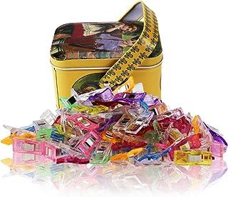Wonder Clips-Pack de 100 clips de costura multiuso Accesorios de artesanía para costura, acolchado, ganchillo, elaboración y tejido de punto, paquete de caja de estaño, colores surtidos