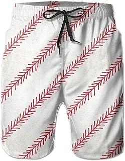 Lixinli Men's Vintage Baseball Stitch Drawstrings Beach Shorts