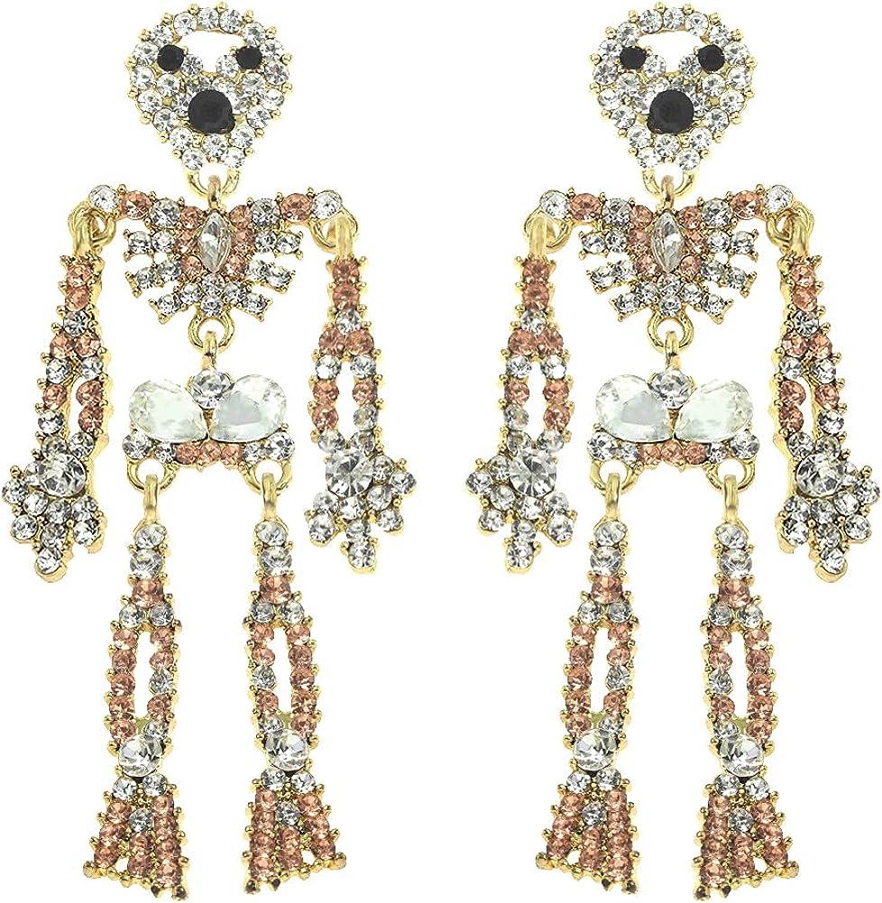 Halloween Jointed Skeleton Dangle Earrings Gothic Drop Earrings for Women Girls - Halloween Costume Accessories