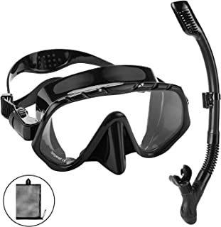 Oumers Dry Top Snorkel Set - Anti-Fog Snorkel Mask Impact Resistant Panoramic Tempered Glass, Free Breathing Anti-Leak Dry Top Snorkel and Gear Bag, Professional Snorkeling Set for Adult Youth
