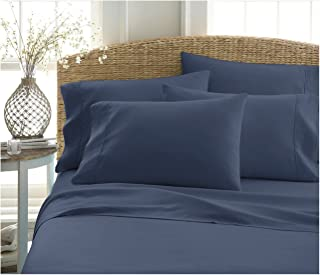 BECKY CAMERON ienjoy Home 6 Piece Double Brushed Microfiber Bed Sheet Set, Queen, Navy