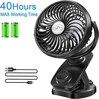 Clip on Stroller Fan Battery Operated - Portable 40 Hours Desk Fan【2019Upgrade Version】with Rechargable 4400mAH Battery USB Cable Mini Fan for Baby Outdoor Sports Activities Aomais