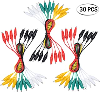 30 PCS Neoteck 5 Colors 1A 24 AWG Double End Alligator Clips Connector Test Lead Set with Crocodile Clamps Jumper Wire for Most Light Electronics Works Experiments Breadboarding Prototyping or Diagnosing Faulty Safety Switches- 1.7 Feet