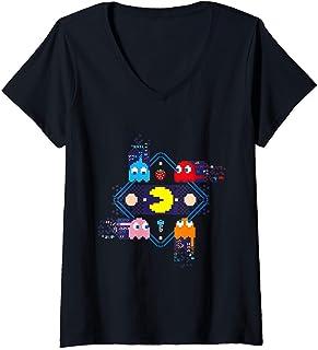 Femme PAC-MAN T-Shirt avec Col en V