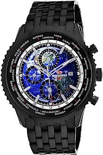 Seapro Men's Meridian World Timer GMT Quartz Stainless Steel Strap, Black, 22 Casual Watch (Model: SP7322)