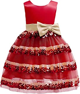 TOYANDONA Girls Princess Dress Bowknot Fashion Sleeveless Ball Gown Kids Dress Party Costumes for Birthday New Year Wedding