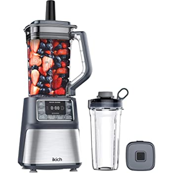 IKICH Vacuum Blender, Professional Countertop Blender Ice Crusher, 25000RMP High Speed Kitchen Smoothie Maker with LCD Screen & Timer, 53OZ/25OZ Dishwasher Cups
