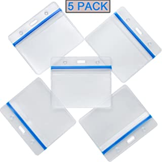 Horizontal Waterproof ID Badge Holder Heavy Duty PVC Card Name Tag Badge Holders with Blue Tight Zipper,one Side Clear Plastic Another Side Abrasive Antiskid Multiple Cards Pack of 5