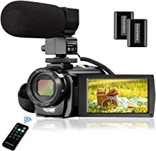 Video Camera Camcorder FHD 1080P 30FPS 24MP YouTube Camera with Microphone 3.0 Inch 270 Degree Rotation 16X Zoom Remote Control Vlogging Digital Video Camera with 2 Batteries