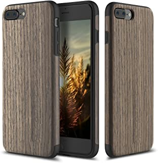 iPhone 7 Plus Case, ROCK [Grained] - Black Rose [Origin][Non Slip] [Built-in Magnetic Metal Plate] [Wood Tactile] [Natural Wood and TPU Rubber] [Fingerprint Free] Case For Apple iPhone 7 Plus