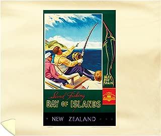 Bay of Islands - New Zealand Vintage Poster (Artist:) New Zealand c. 1935 65767 (88x104 King Microfiber Duvet Cover)