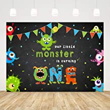 Our Little Monster is Turning One Theme 1st Birthday Party Backdrop Boy Girl Baby Shower Photography Background 7x5ft Welc...