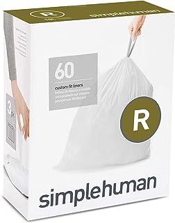 simplehuman Custom Fit Drawstring Trash Bags, 60 Pack, White, 60 Count